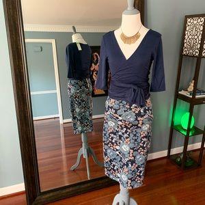 Pencil Skirt - Blue Floral
